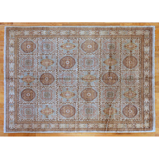 Brown and Tan Area Rug with Medallion Checkerboard