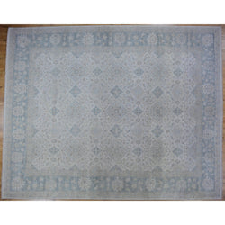Ivory and Blue Floral Rug