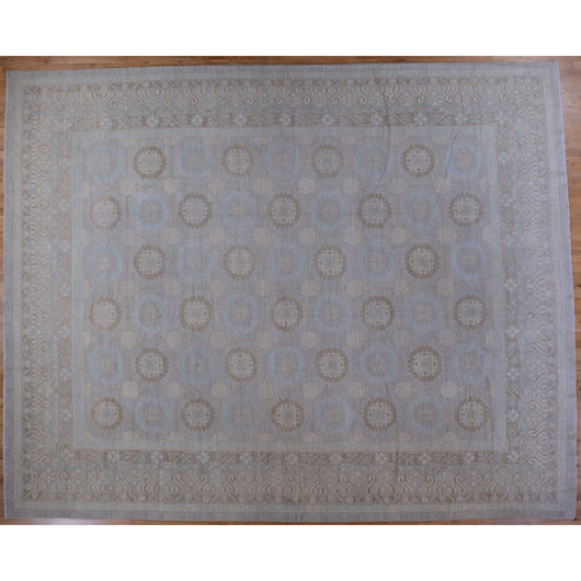 Light Blue and Ivory Pomegranate Design Rug