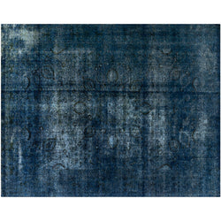 Blue Floral Distressed Rug