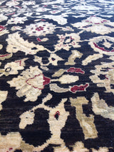 Black Pakistani Traditional Style Wool Area Rug