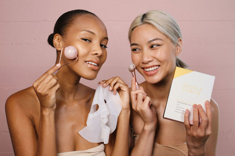 best organic skincare products - women with masks and rollers