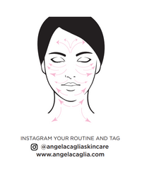Arrows on woman's face pointing in direction to move gua sha.