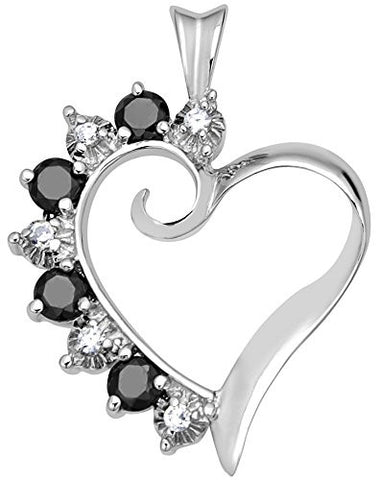 Mother's Day Gift Women's Sterling Silver .925 Original Design Open Heart Pendant with Black and White Round Cubic Zirconia (CZ) Stones, Platinum Plated