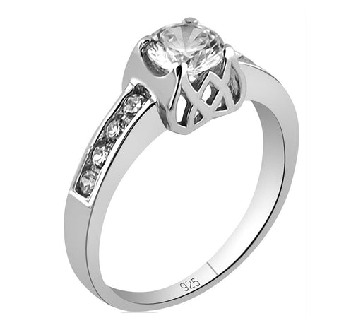 Mother's Day Gift Women's Sterling Silver .925 Cubic Zirconia CZ Bride Engagement Promise Ring, Platinum Plated