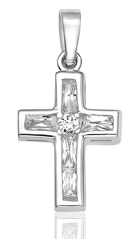 Women's Sterling Silver .925 Original Design Cross Pendant/Slider with 5 Channel-Set Baguette Cubic Zirconia (CZ) Stones, Platinum Plated, Identical Appearance to Platinum or White Gold,