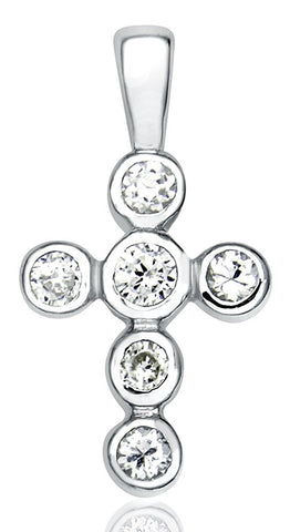 Women's Sterling Silver .925 Cross Pendant with Round Cubic Zirconia (CZ) Stones, Platinum Plated