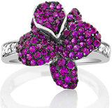 Mother's Day Gift Women's Sterling Silver .925 Fuchsia Flower Ring Featuring 107 Round Tiny Cubic Zirconia (CZ) Stones, Platinum Plated