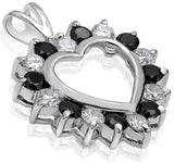 Women's Sterling Silver .925 Open Heart Pendant with Black and White Cubic Zirconia (CZ) Stones, Platinum Plated