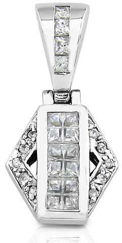 Mother's Day Gift Women's Sterling Silver .925 Original Design Pendant/Slider with Princess Cubic Zirconia (CZ) Stones. High Polish