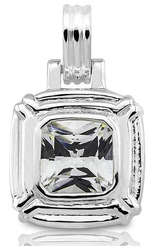 Women's Sterling Silver .925 Original Design Pendant/Slider with Square shaped Cubic Zirconia (CZ) Stone, Weighing approx 9.5ct, High Polish,