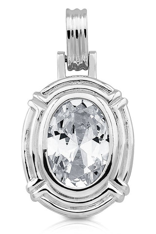 Women's Sterling Silver .925 Original Design Pendant/Slider with Oval shaped Cubic Zirconia (CZ) Stone Weighing approx 15ct, High Polish, Identical Appearance to Platinum or White Gold