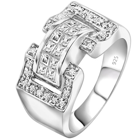 Men's Sterling Silver .925 Ring Featuring 27 Invisible and Prong Set Cubic Zirconia (CZ) Stones, Platinum Plated. By Sterling Manufacturers