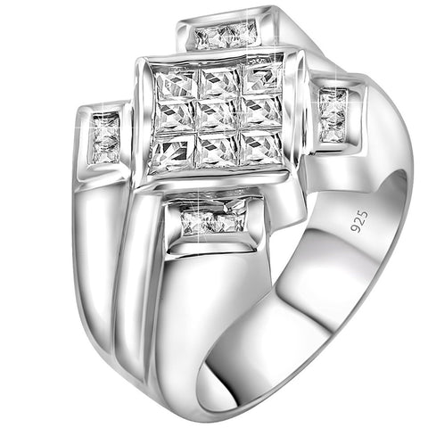 Men's Sterling Silver .925 Ring Featuring a Princess-Cut Center Stone with an Invisible-Set Look Surrounded by Channel Set (CZ) Stones, Platinum Plated. By Sterling Manufacturers
