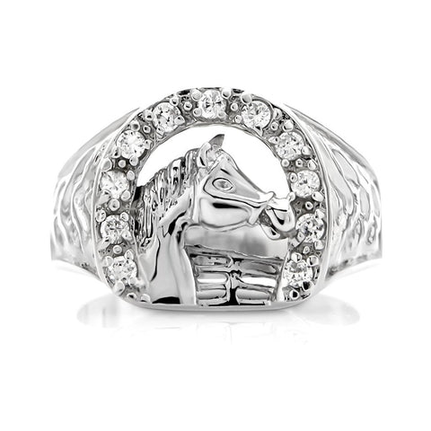 Sterling Silver .925 Fenced Horse Ring Featuring a Cubic Zirconia (CZ) Encrusted Horseshoe. By Sterling Manufacturers