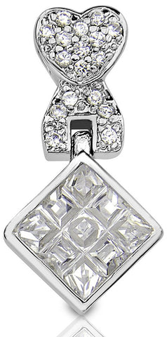 Mother's Day Gift Women's Sterling Silver .925 Heart and Diamond Shaped Pendant with Cubic Zirconia (CZ) Stones. High Polish