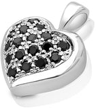 Mother's Day Gift Women's Sterling Silver .925 Puffed Heart Pendant with Black Round Cubic Zirconia (CZ) Stones, Platinum Plated