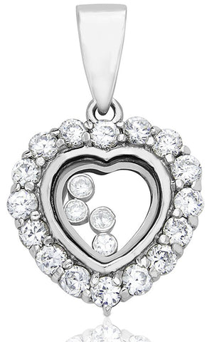 Mother's Day Gift Women's Sterling Silver .925 Happy Diamond Heart Transparent See Through Pendant with Round Cubic Zirconia (CZ) Stones, High Polish