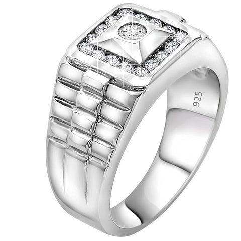 Men's Elegant Sterling Silver .925 Watch Band Style Ring with Round Cubic Zirconia (CZ) Stones, Platinum Plated. By Sterling Manufacturers
