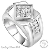Men's Sterling Silver .925 Ring with Invisible Look Princess-Cut Center Stone and Channel-Set Cubic Zirconia Stones, Platinum Plated. By Sterling Manufacturers