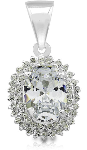 Mother's Day Gift Women's Sterling Silver .925 Original Design Pendant/Slider with Oval Center and side round Cubic Zirconia (CZ) Stones, High Polish, Identical Appearance to Platinum or White Gold,