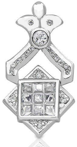Mother's Day Gift Women's Sterling Silver .925 Original Design Pendant/Slider with Cubic Zirconia (CZ) stones. High Polish