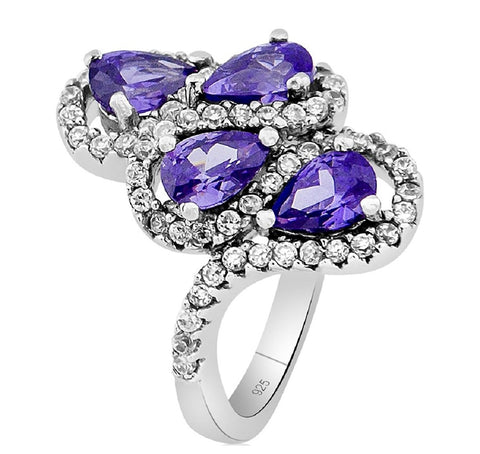 Mother's Day Gift Fancy Women's Sterling Silver .925 Designer Ring Featuring 68 Purple and White Cubic Zirconia (CZ) Stones, Platinum Plated