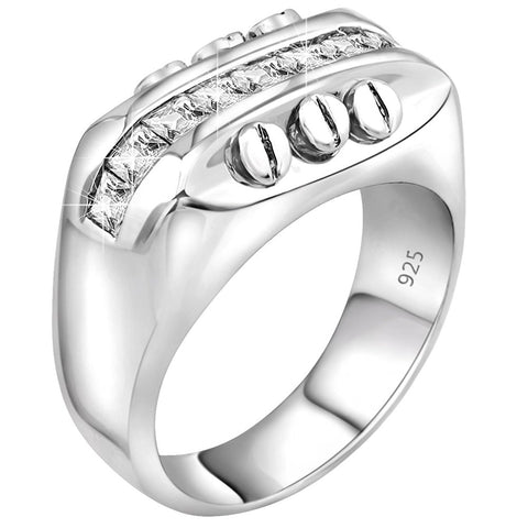Men's Sterling Silver .925 Screw Head Ring with Channel Set Cubic Zirconia (CZ) Stones, Platinum Plated. By Sterling Manufacturers