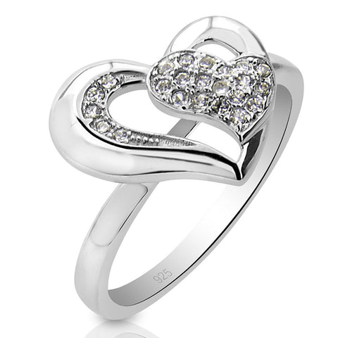 Mother's Day Gift Women's Sterling Silver .925 Heart Inside Heart Ring Encrusted with 23 Sparkling Round Cubic Zirconia (CZ) Stones, Platinum Plated