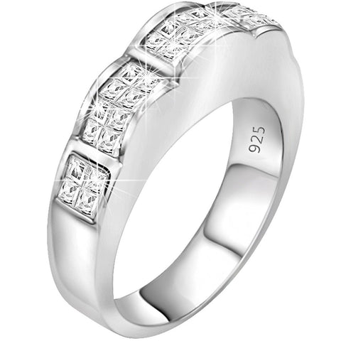 Sterling Silver .925 Scallop Design Ring Featuring Invisible Look Channel-Set Princess-Cut Cubic Zirconia (CZ) Stones, Platinum Plated. For Men Women. By Sterling Manufacturers