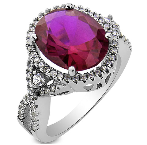 Mother's Day Gift Fancy Women's Sterling Silver .925 Ring with Large Fuchsia Pink Oval Cubic Zirconia (CZ) Stone Surrounded by 42 Round Sparkling Cubic Zirconia (CZ) Stones, Platinum Plated