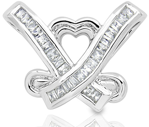 Mother's Day Gift Women's Sterling Silver .925 Cross My Heart Pendant Slider with Princess-Cut Cubic Zirconia (CZ) Stones, High Polish, By Sterling Manufacturers