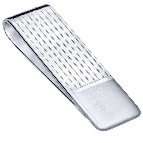 Sterling Silver .925 Money Clip, Hand Polished, Elegant Solid Design, Engravable. Designed and Made In Italy. By Sterling Manufacturers