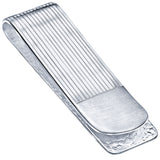 Sterling Silver .925 Money Clip Striped Design with Satin Finish Accent, Pebbled Underside. Designed and Made In Italy. By Sterling Manufacturers