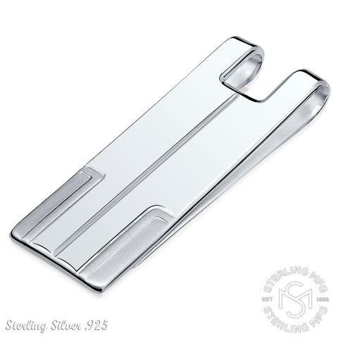 Sterling Silver .925 Hand Polished Elegant Solid Design Money Clip, Engravable, Designed and Made In Italy. By Sterling Manufacturers