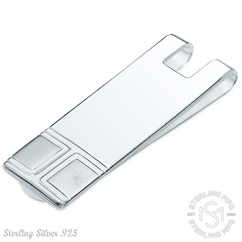 Designed and Made In Italy By Sterling Manufacturers Sterling Silver .925 Solid Design Engravable Money Clip