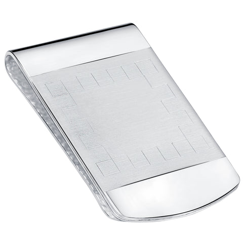 Sterling Silver .925 Engravable Satin Center Accent Solid Design Money Clip. Designed and Made In Italy. By Sterling Manufacturers