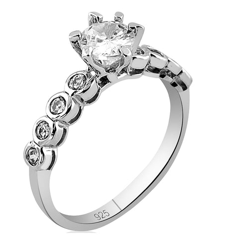 Mother's Day Gift Women's Sterling Silver .925 Designer Engagement Ring Featuring a 1.13 Carat Cubic Zirconia (CZ) Round Center Stone Surrounded by Round (CZ) Stones, Platinum Plated