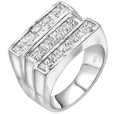 Men's Sterling Silver .925 Triple Row Ring Featuring Fancy White Invisible Channel Set Cubic Zirconia (CZ) Stones, Platinum Plated.