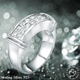 Sterling Silver .925 Ring Band Featuring Channel-Set Invisible Look Cubic Zirconia (CZ) Stones, Platinum Plated. For Men, Women. By Sterling Manufacturers