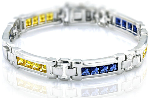 "Men's Sterling Silver .925 Bracelet with Princess-Cut Canary Yellow and Azure blue Cubic Zirconia (CZ) Stones, Box Lock, Platinum Plated. 8"" or 9"". By Sterling Manufacturers"
