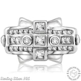 Men's Sterling Silver .925 Designer Ring Featuring 31 Round Square and Baguette Cubic Zirconia (CZ) Stones, Platinum Plated. By Sterling Manufacturers
