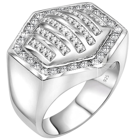 Men's Sterling Silver .925 Hexagonal Ring Featuring 64 Round and Baguette Cubic Zirconia (CZ) Stones, Platinum Plated. By Sterling Manufacturers