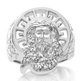 Men's Sterling Silver .925 High Polish Jesus Face Ring Featuring Fancy Prong Set White Cubic Zirconia (CZ) Stones.
