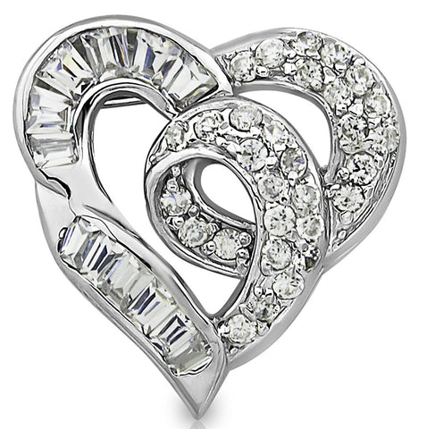 Mother's Day Gift Women's Sterling Silver .925 Heart Pendant Slider for Necklace with Round and Baguette Cubic Zirconia (CZ) Stones, High Polish. By Sterling Manufacturers