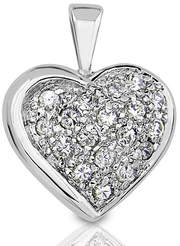 Mother's Day Gift Women's Sterling Silver .925 Heart Pendant Slider for a Necklace, Round Cubic Zirconia Stones. By Sterling Manufacturers
