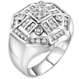 Men's Sterling Silver .925 Designer Octagon Ring Featuring 52 Round Square and Baguette Cubic Zirconia (CZ) Stones, Platinum Plated. By Sterling Manufacturers