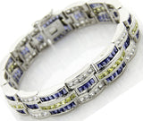 "Men's Fancy Sterling Silver .925 Bracelet with Azure Blue, Canary Yellow and Classic White Channel-Set Cubic Zirconia (CZ) Stones, Box Lock, Platinum Plated. 9"" By Sterling Manufacturers"