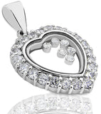 Mother's Day Gift Women's Sterling Silver .925 Happy Diamond Heart Pendant/Slider with Round Cubic Zirconia (CZ) Stones, Platinum Plated