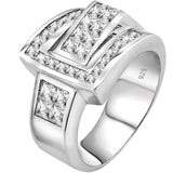 Men's Sterling Silver .925 Ring Featuring 27 Channel and Invisible Set Cubic Zirconia (CZ) Stones, Platinum Plated. By Sterling Manufacturers